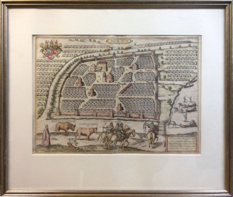 16th Century Colored Braun and Hogenberg Engraving of Moscow