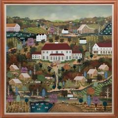 "Jan Munro Mixed Media on Masonite ""Southern Plantation Scene"""