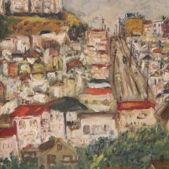 """Attributed to Louis Siegriest """"Townscape"""" Oil on Canvas Board"""