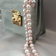 White South Sea and Pink Fresh Water Pearl Graduated Necklace