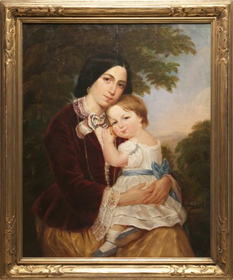 "American School ""Portrait of Mother and Child"" Oil on Canvas"