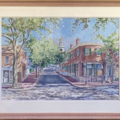 """William Welch Watercolor on Paper """"5:17 on Main Street"""""""