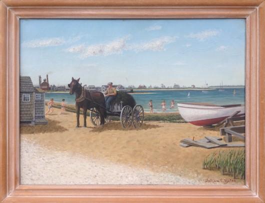 "Julian E. Yates ""Gathering Seaweed"" Oil on Canvas"