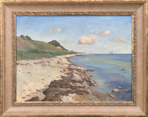 """Theodore Bernard Dahl """"Shoreline Seascape"""" Oil on Canvas"""