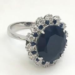 11 Carat  Sapphire and Diamond Ring