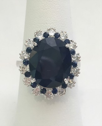 11cts Sapphire and Diamond Ring, set in 14k white gold, 14 white diamonds total weight 1.40cts and 14 blue sapphires .50 cts.