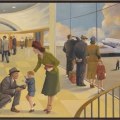 "Jackie Osborn ""La Guardia American Airlines Terminal"" Acrylic on Canvas"