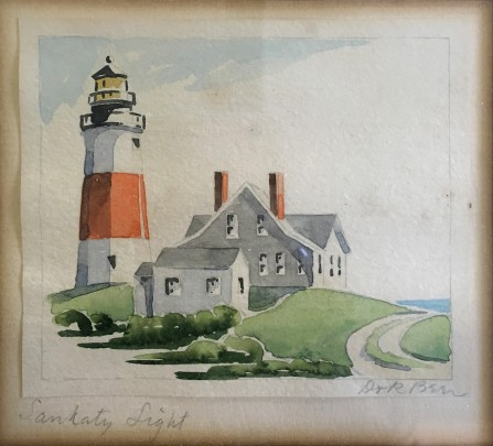 "Doris and Richard Beer ""Sankaty Light"" Watercolor on Paper"