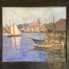 """L. A. Gillette """"Harbor Scene"""" Oil on Artist Board"""