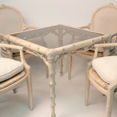Chip Carved Glass Top Bridge Table and Four Chairs