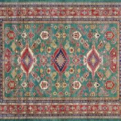 Hand Woven Wool Kazak Carpet, light green.