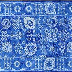 Hand Woven Wool & Bamboo Silk Tone on Tone Tabriz Carpet Runner