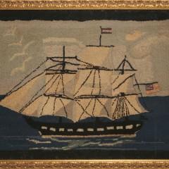"""Framed Vintage Hooked Rug """"Portrait of a Clipper Ship"""""""