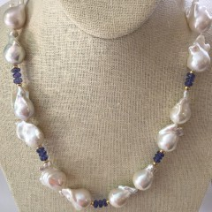 15mm-26mm White Fresh Water Baroque Pearl & Tanzanite Necklace