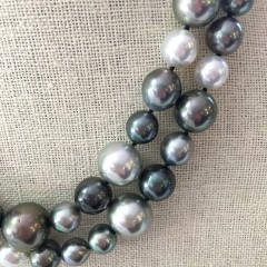 Fine 9mm – 16mm White South Sea and Tahitian Pearl Multi-Color Cocktail Necklace