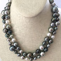 Fine 9mm - 16mm White South Sea and Tahitian Pearl Multi-Color Cocktail Necklace