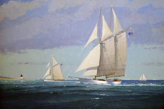 """William W. Lowe """"Schooners Arriving Home - Nantucket"""" Oil on Linen Canvas"""