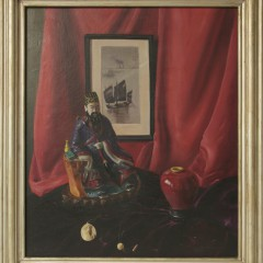 "Frederick Thompson ""Asian Artifacts Still Life"" Oil on Canvas"
