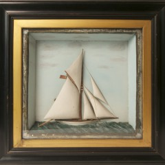 """19th Century Shadow Box of the Sailing Vessel """"Defender"""""""