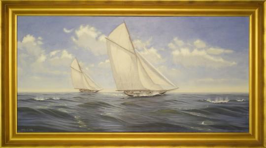 "Alan J. Eddy ""Clear Day Sailing"" Oil on Canvas"