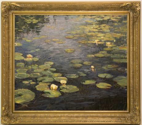 """Susan Diehl """"Water Lilies"""" Oil on Canvas"""