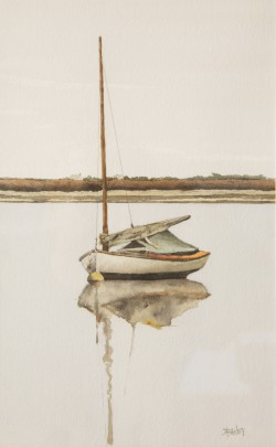 """Roy Bailey """"Sailboat Moored in Still Waters"""" Watercolor on Paper"""