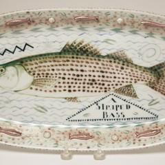 "Mara Superior Porcelain Oval Fish Platter ""A Striped Bass"" Trout"