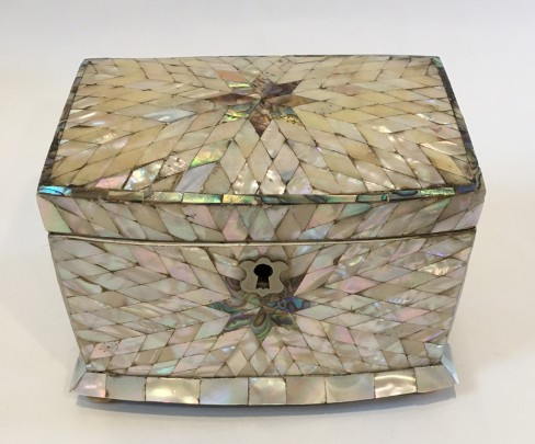 Fine Mother of Pearl Inlaid Tea Caddy and 19th Century Multi-Wood inlaid Triple Compartment Tea Caddy