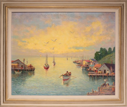 """Andrew DoBos Oil on Canvas """"Fishing Village"""""""