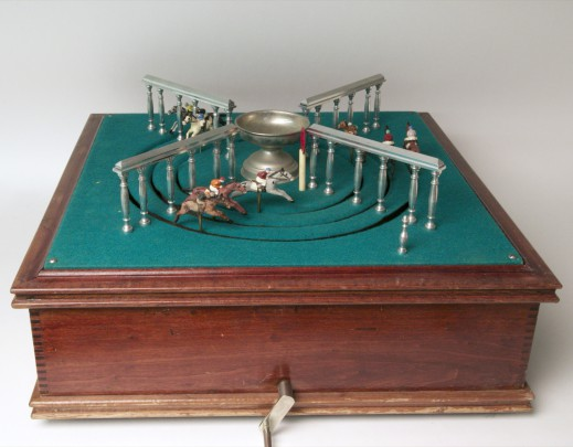 """Mechanical """"Petits Chevaux"""" Horse Race Game, in mahogany box."""