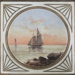 "Wendell Macy Oil on Wood Panel ""Sailing at Sundown"""