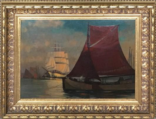 """Oskar Dolhart Oil on Masonite """"Abendsonne Im Hafen"""""""