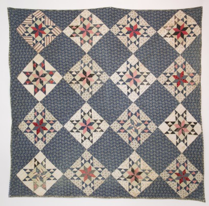 Antique Red, White and Blue Calico Patchwork Quilt