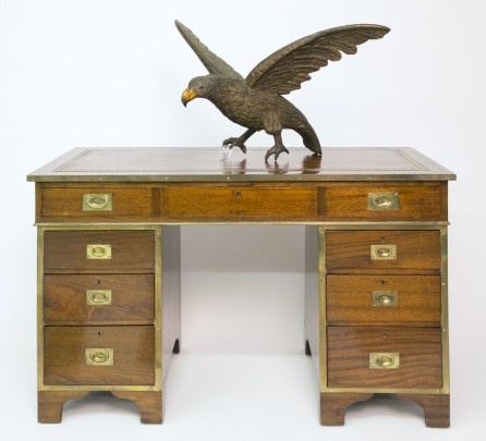 19th Century Three-Part Brass Bound Mahogany Campaign Knee Hole Desk with Carved and Painted Wood Eagle