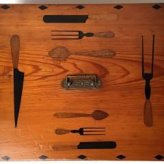 """Folk Art """"Knife and Fork"""" Inlaid Cutlery Box"""
