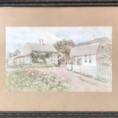 "Jane Brewster Reid Watercolor on Paper ""Nantucket Cottages"""