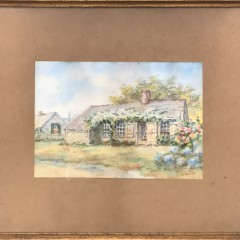 """Lillian Gertrude Smith Watercolor on Paper """"Rose Covered Sconset Cottage"""""""