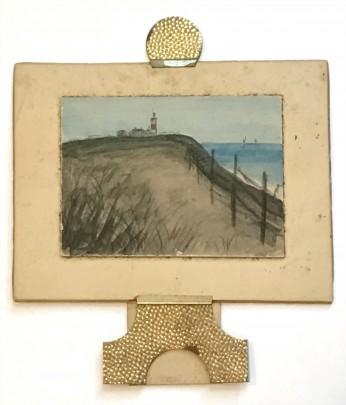 "Miniature Nantucket Watercolor on Paper ""Sankaty Light, Ntkt Mass."""