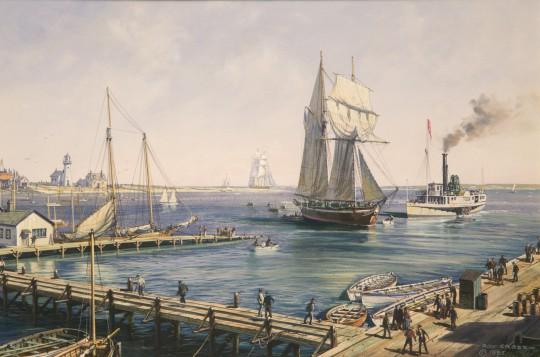 """Roy Cross Watercolor on Paper """"Nantucket Harbor, 1840"""""""