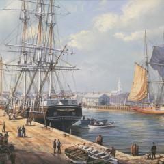 """Roy Cross Watercolor on Paper """"Nantucket Harbor, 1850"""""""