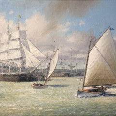 "Leonard John Pearce Oil on Canvas ""Catboats in Nantucket Harbor"""