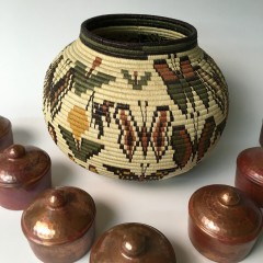Fine Ember and Wounaan Indian Woven Basket
