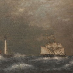 "William P. Stubbs (attrib.) Oil on Canvas Board ""Twin Lights, Thatcher Island"""