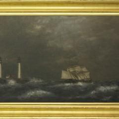 "William P. Stubbs Oil on Canvas Board ""Twin Lights, Thatcher Island"""
