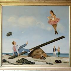 "Martha Cahoon Oil on Masonite ""See Saw 2"""