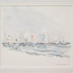 """Joan Brady Watercolor on Paper """"Race from Nantucket III"""""""