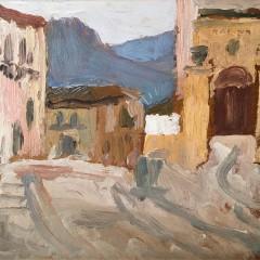 """Jean Delescluze Oil on Board """"Village, Southern Spain"""""""