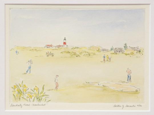 "Bettie J. Sarantos Hand Colored Limited Edition Engraving ""Sankaty Head, Nantucket"""