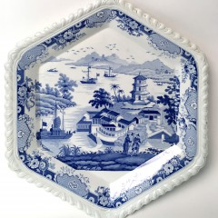 """19th Century """"India Temple"""" Stone China Covered Soup Tureen and Hexagonal Underplate"""