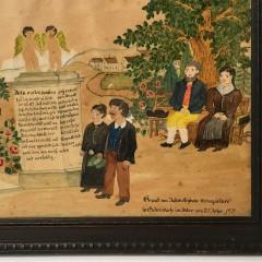"German Folk Art Watercolor on Paper ""Gathering at the Church"""